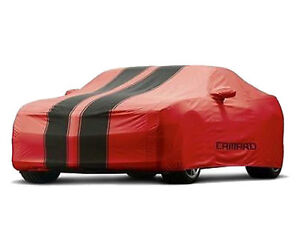 2010-2015 Camaro car cover - Red with Black stripes.