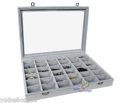 Schmucklade Schmuckkasten Sortierkasten mit Glasdeckel 36 Fächer grau