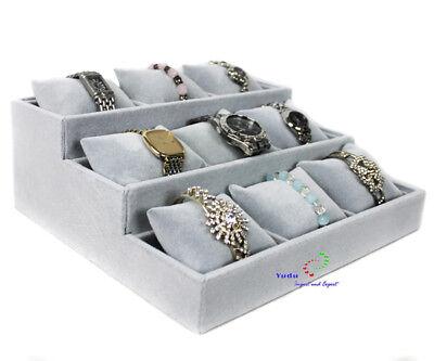 Schmucktreppe Uhrenständer Juwelier Display 3 Ebenen 9 Uhrenkissen grau