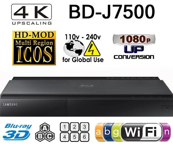 Samsung BD-J7500 CODEFREE Multi Zone All Region Free Blu-Ray