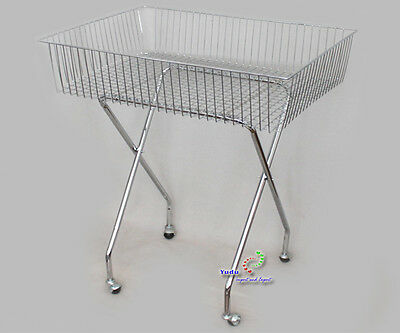 Gitterkorb Wühlkorb Verkaufständer Warenständer 4 Rollen klappbar Chrom