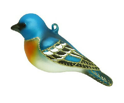 Lapis Lazuli Bird - BLOWN GLASS - Lapis Lazuli Bunting bird - HAND PAINTED BIRD   C431