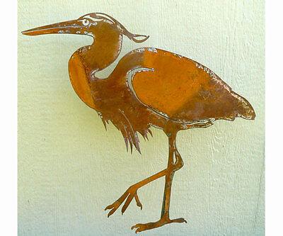 garden rustic metal Great Blue Heron Sm Bird Silhouette 13.25 x14.50 ELEGANTB740