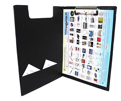 Tasche Klemmbügel (Klemmbrett Schreibplatte mit Innentasche Schreibbrett Bügelklemme A4 schwarz)