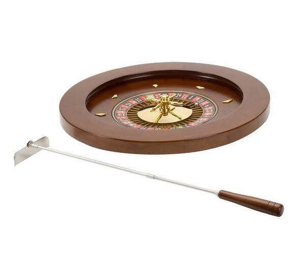 "18"" Deluxe Wooden Roulette Spinning Wheel Game With Metal Rake"