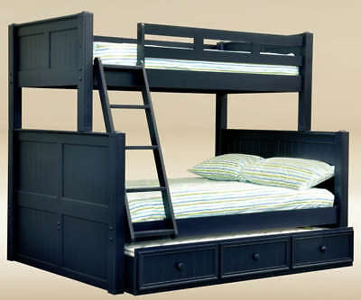 (NEW COTTAGE NAVY BLUE TWIN FULL BIRCH WOOD BUNK BED w/ TRUNDLE BED STORAGE)