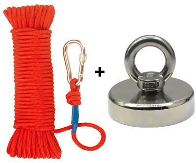 FISHING MAGNET UPTO 1300 LBS PULL FORCE STRONG NEODYMIUM + ROPE + CARABINER