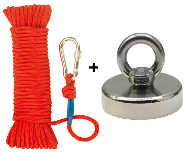Best NEW FISHING MAGNET KIT UPTO 2000 LBS PULL FORCE STRONG NEODYMIUM + ROPE + CARABINER