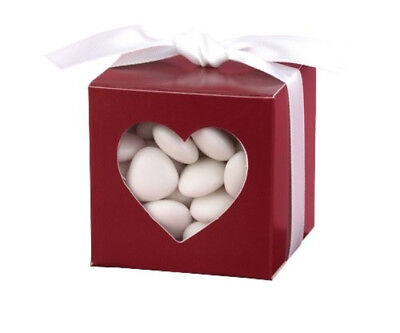 NEW HBH Dark Red Heart Window Favor Boxes 25 pc.