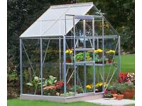 New & Boxed Greenhouse Halls Popular 6'x4' Aluminium Horticultural Glass Steel Base