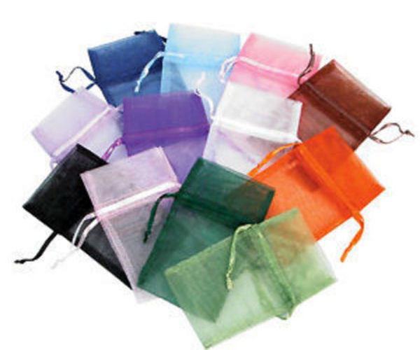 48 Assorted Size Organza Drawstring Silk Pouch Bags