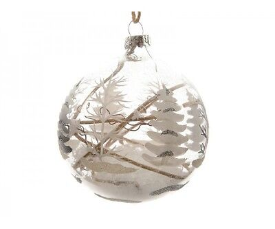 3 pk Glass Christmas Ornaments, Rustic,Tree Painted-Snow-Filled