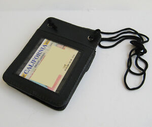 BLACK-Genuine-Leather-ID-CARD-Holder-Neck-Travel-Pouch-Wallet-Thin-front-pocket