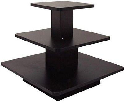 Square 3 Tier Table Black