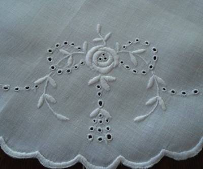 Heirloom Swag - Vintage Heirloom Linen Center Doily Hand Embroidered Eyelet Flower Swags 15