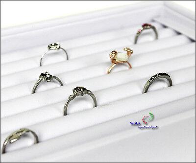 eleganter Ringkasten Schmuckkasten Vorlagebrett Ringhalter für Ringe weiss