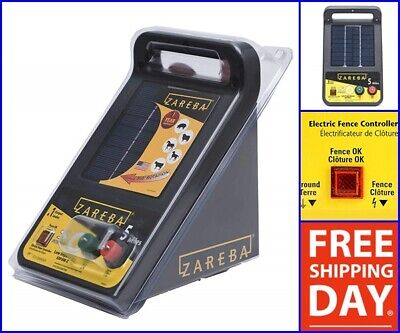 Solar Power Electric Fencer Charger Low Impedance 6 Volt 5 Mile Pigs Sheep Goat
