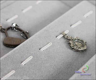 Samt Vorlagebrett für 56 St.Anhänger Piercring Ring schräg grau