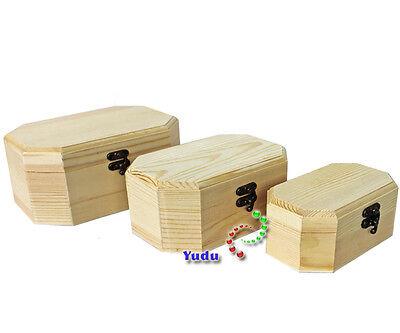 3 tlg. Set Schatztruhen Kasten Aufbewahrung Koffer Box Schmuckkoffer Naturholz