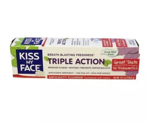 Kiss My Face Anticavity Fluoride Fresh Mint Paste Toothpaste Xylitol Tea Tree