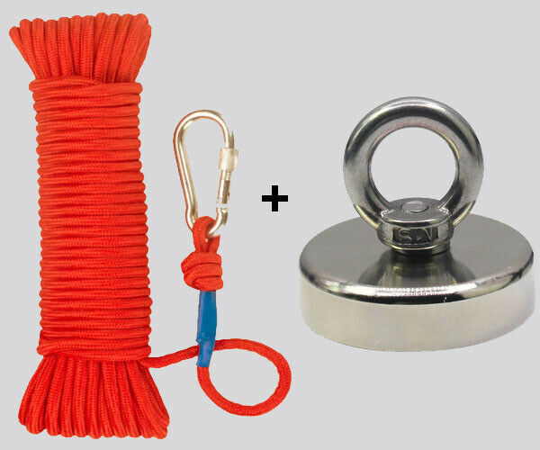 Best NEW UPTO 2000LB FISHING MAGNET KIT STRONG NEODYMIUM PULL FORCE WITH ROPE & CARABINER