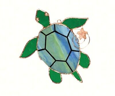 Stained Glass - Sea Turtle Sun Catcher    - GE229 - Ocean Stained Glass