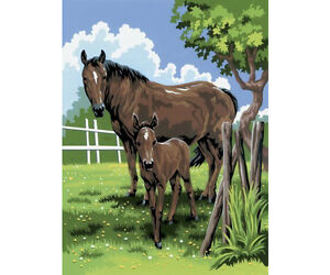 A4-PAINT-BY-NUMBERS-MARE-FOAL-HORSES-FIELD-PADDOCK-ACRYLIC-PAINTING-KIT-PJS21