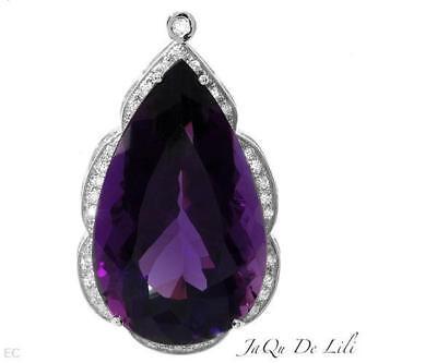 CERTIFIED 69.25 Jaqu De Lili 14k WG Purple Amethyst Pendant Amethyst Ring