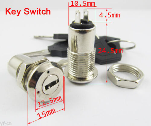 5pcs Key Switch ON/OFF Lock Switch K3 with Plastic Handle 10.5x29mm US