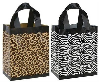 Plastic Shopping Bags Zebra Leopard Frosted Gift Merchandise 8x5x10 Lot 20