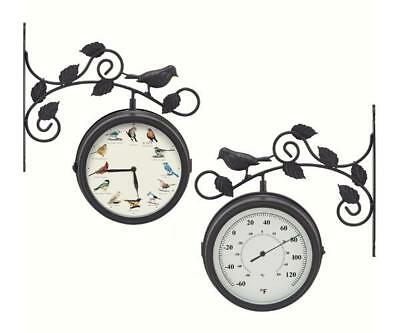 Decorative Outdoor Bird Song Clock/Thermometer