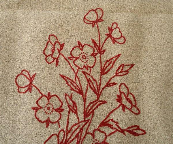 "Antique Linen Damask Table Runner Turkey Red Embroidery Fringe Drawnthread 66"""