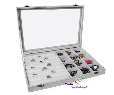 Schmuckasten Schaukasten Glasdeckel für Ringe mit 12 Fächern weiss