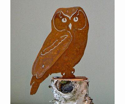 Owl Bird Rusty Metal Silhouette Accent for Inside or Out, Porch, Fence, Etc
