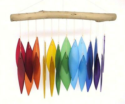 RAINBOW & DRIFTWOOD WIND CHIMES, HANDCRAFTED COLORED HAND-CUT GLASS LEAVES  #dm Color Hand Cut Glass