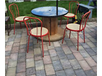 Quirky cable drum garden table glass top habitat red retro chairs pub cafe seating