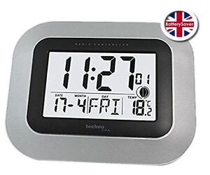 Technoline WS-8005M LCD Digital Wall Clock - Radio Controlled Automatic Time