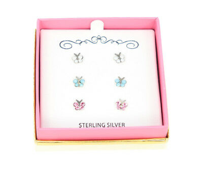 Macys Genuine Sterling Silver Tri-Color Butterfly Earrings Set MKS13503