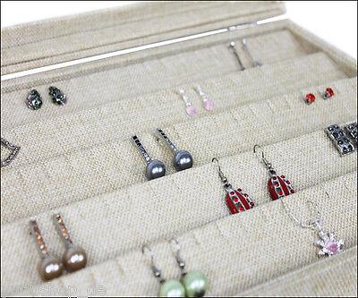 Schaukasten Schmucklade Glasdeckel für Anhänger Ketten Ohrring Schlitz Jute Look