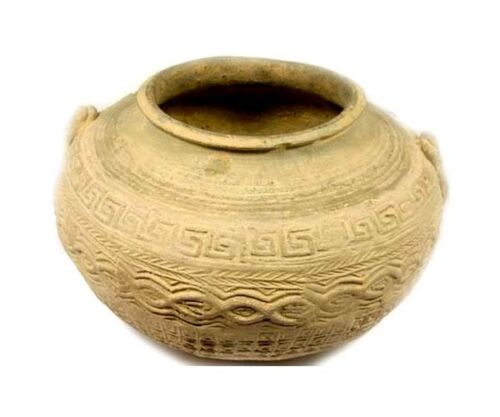 Ancient China Earthenware Jar/Pot Intricate Impressed Design Two-Handled 200BC