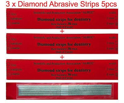 Dental Abrasive Diamond Stainless Steel Strips Finishing Polishing Coarse 3x5pcs