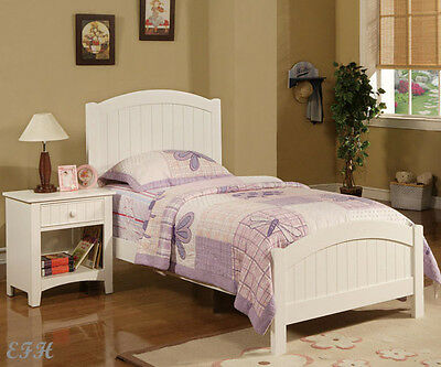 (NEW ALENA COTTAGE PURE WHITE FINISH WOOD BEADBOARD TWIN SIZE BED)