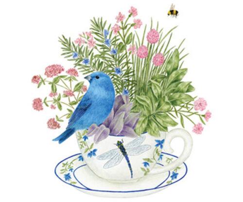 Alices-Cottage-Set-of-2-Cotton-Flour-Sack-Towels-BLUE-BUNTING-FLOWERS-27x30