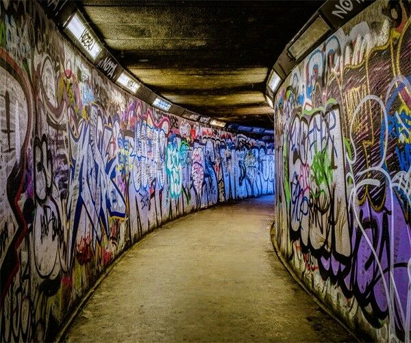 Graffiti Art Corridor Retro Photography Backgrounds 10x8ft Vinyl Photo Backdrops