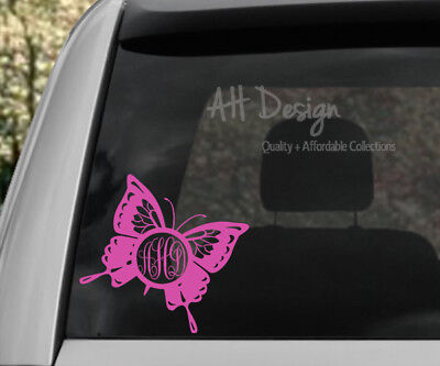 Monogrammed Car Accessories (Butterfly 1 Monogram Graphic Vinyl Decal Car Home Mailbox)