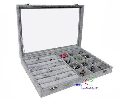 Schmuckasten Schaukasten Glasdeckel für Ringe mit 12 Fächern grau