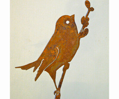 Garden BIRD ON WILLOW BRANCH Silhouette Rusty Metal, Steel Rustic Art Made USA](Birds Silhouette)