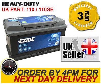110SE Exide EB802 Heavy Duty Car Battery - Type 110 - 80Ah 12V 700A