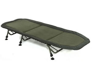 Trakker NEW Fishing RLX Flat 6 leg Bedchair *FREE Trakker Pillow*