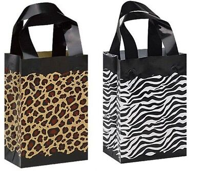 Leopard Zebra Frosted Plastic Bags Gift Party Merchandise Retail 5x3x7 Lot 20
